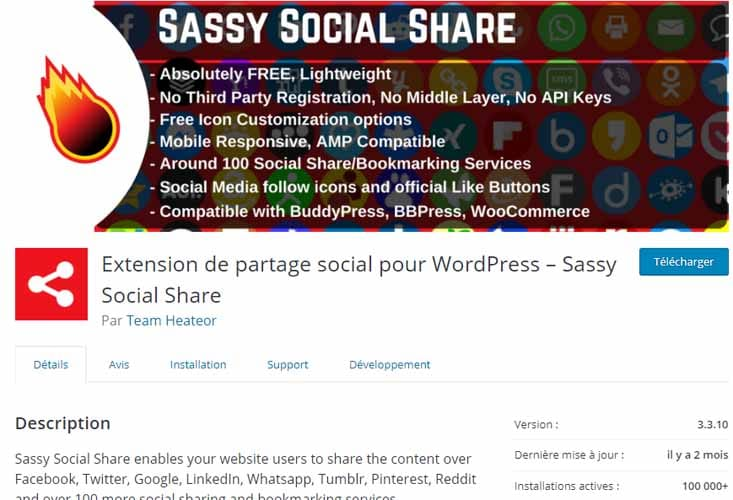 Installer le plugin Sassy Social Share pour ajouter les boutons de partage des reseaux sociaux