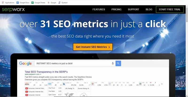 SerpWorx extension Google Chrome qui combine les meilleurs outils de referencement pour fournir des mesures SEO