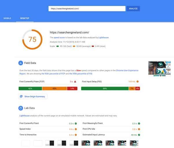 La vitesse de chargement d une page avec PageSpeed Insights