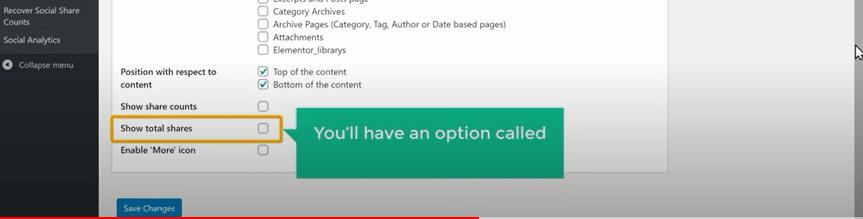 Pour afficher a cote des boutons de partage le nombre de personnes ayant partage ses contenus