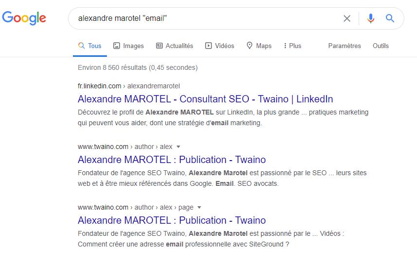 Utiliser Google pour rechercher un prospect en faisant nom du prospect suivi du mot email