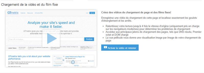 l outil video permet de visualiser les problemes de chargement de sa page