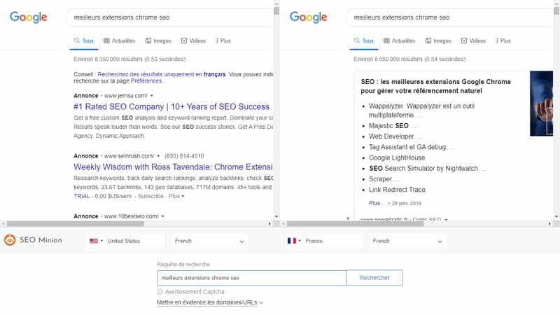 SEO Minion est seule a proposer de pouvoir comparer la page SERP pour deux pays différents