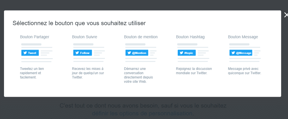 Selectionner le bouton twitter a installer