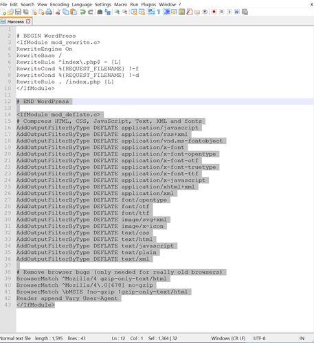 modifier le fichier Htacess pour activer la compression GZIP