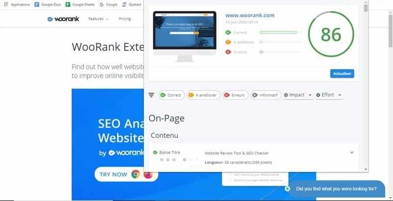 Audit SEO et analyse de site web est un outil de woorank qui fournit un rapport SEO detaille