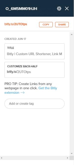 Bitly est une extension racourcisseur de lien