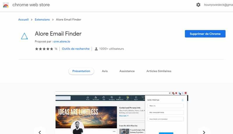 Alore Email Finder une extension permettant de chercher des prospects sur LinkedIn Twitter et AngelList