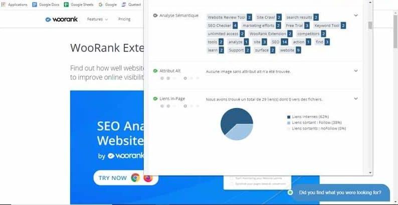 Audit SEO et analyse de site web ouvre un popup avec des donnees On Page et Off Page
