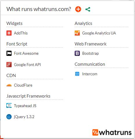 WhatRuns permet de voir les plateformes et systemes utilises par les sites web que l on visite