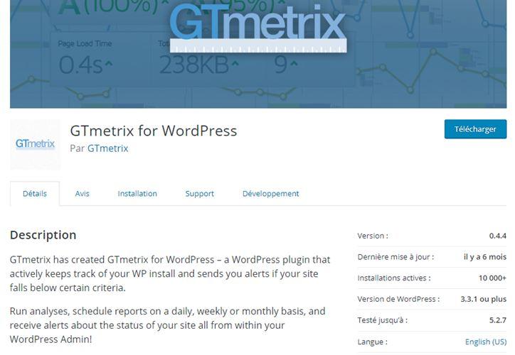 rechercher et installer le plugin GTmetrix