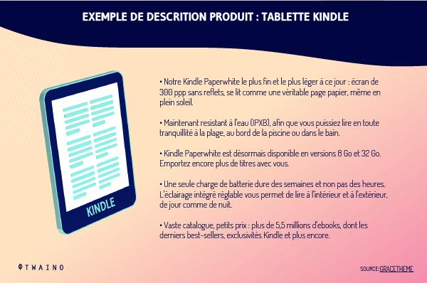 Description de produit tablette kindle