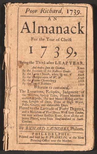 La publication du Poor Richard Almanack