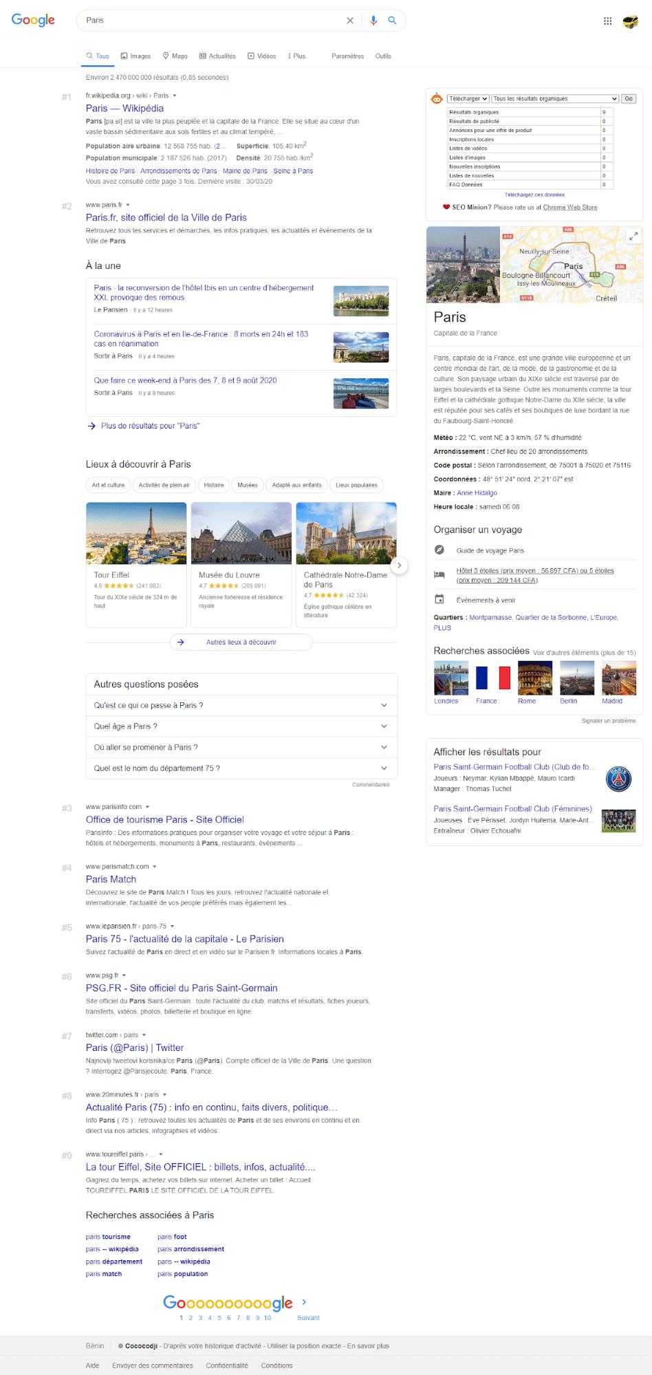Le graphique de connaissances Google