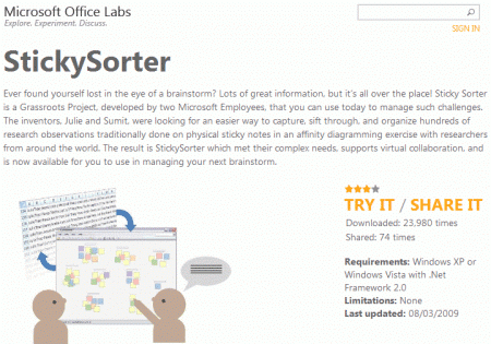 Stickysorter par Microsoft Office Labs