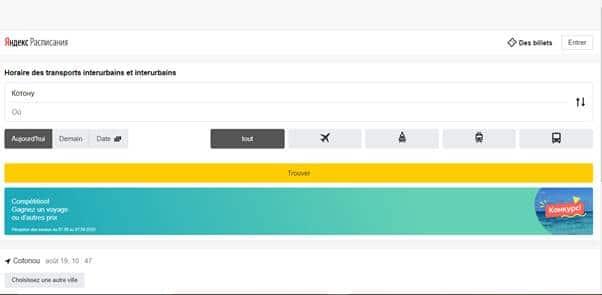 Yandex horaire