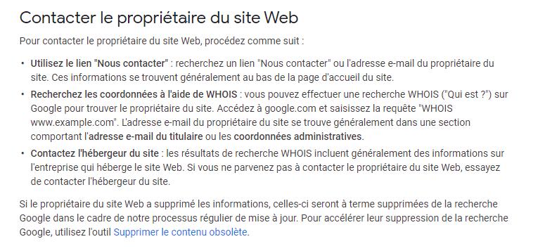 Contact de proprietaire du site web