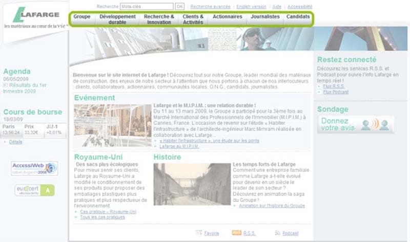 Page d accueil de Lafarge en Mars 2009