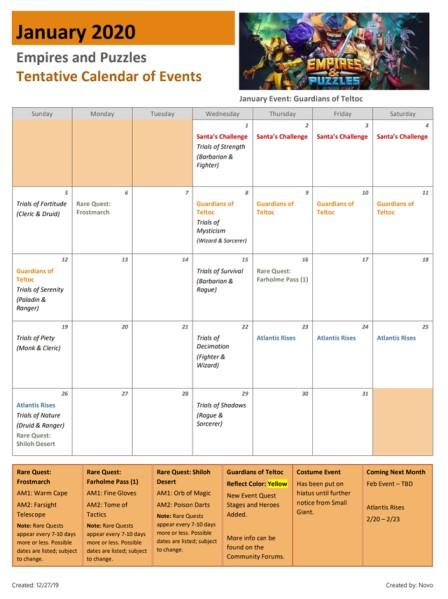 Le calendrier des evenements