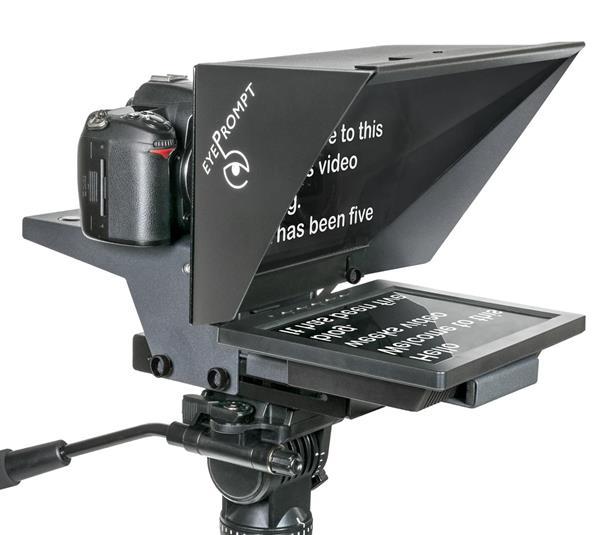 Une camera professionnelle un micro un eclairage et un teleprompteur