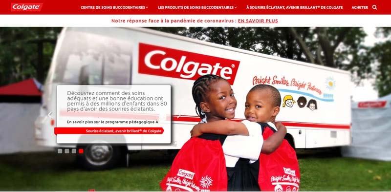 Colgates Des images de filantes avec diverses recommandations