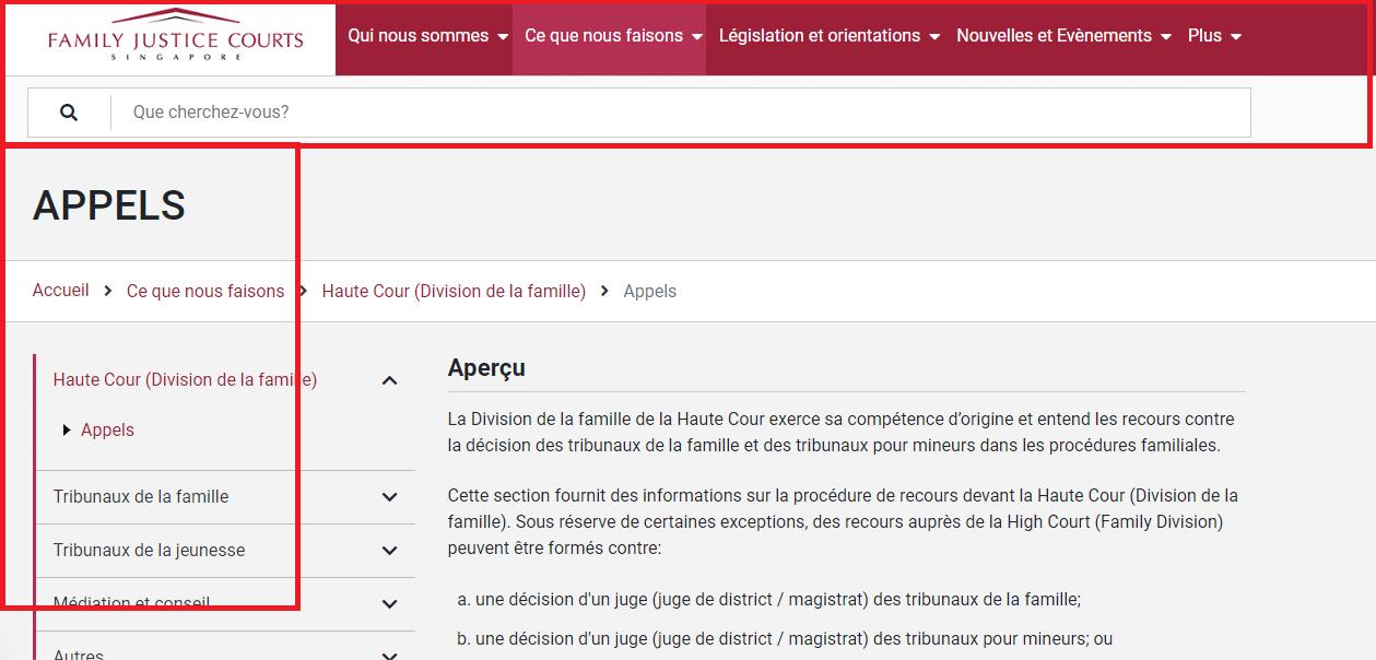Une liste de liens verticaux repertories sur le cote gauche de la page