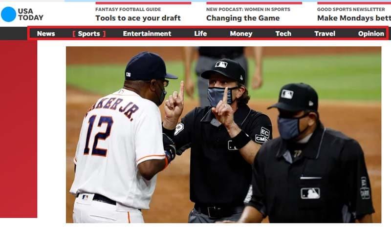 Une façon contextuelle comme sur le site officiel de USA Today