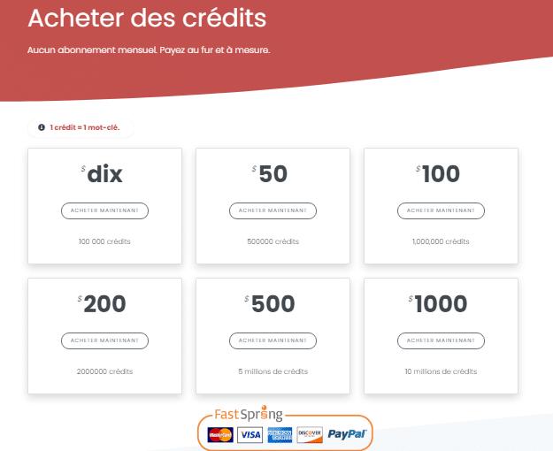 Acheter des credits