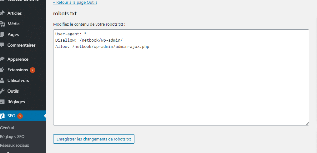 Le fichier robots txt