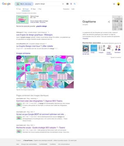 Une illustration des resultats affiches par Google