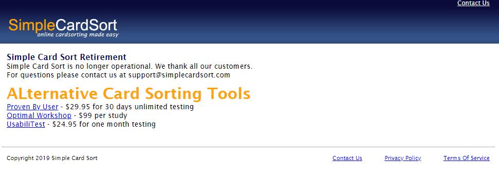 outils disponibles sur le NET simple cardsort