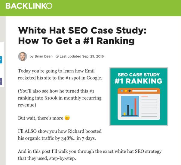 Etude de cas White Hat SEO Comment obtenir un classement en premiere position