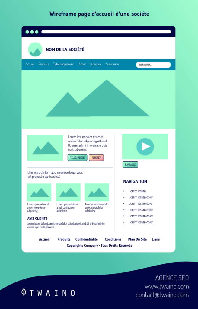Wireframe page d accueil d une societe