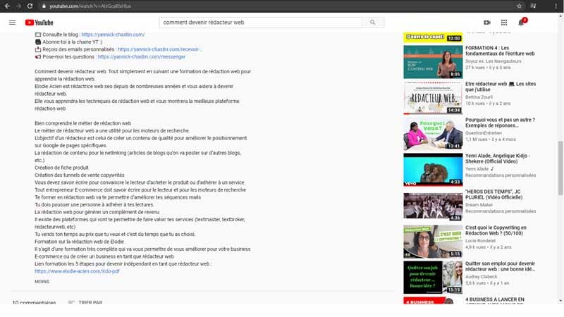 La description complete du contenu de votre video