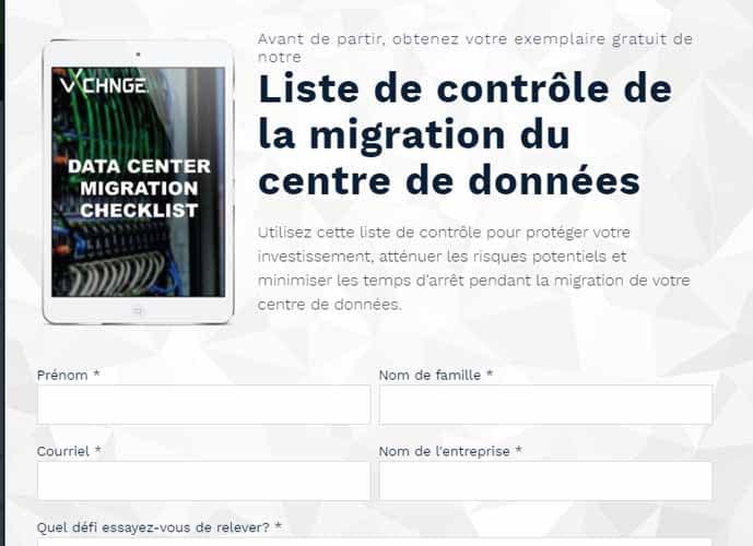 liste de controle de la migration du centre de donnee