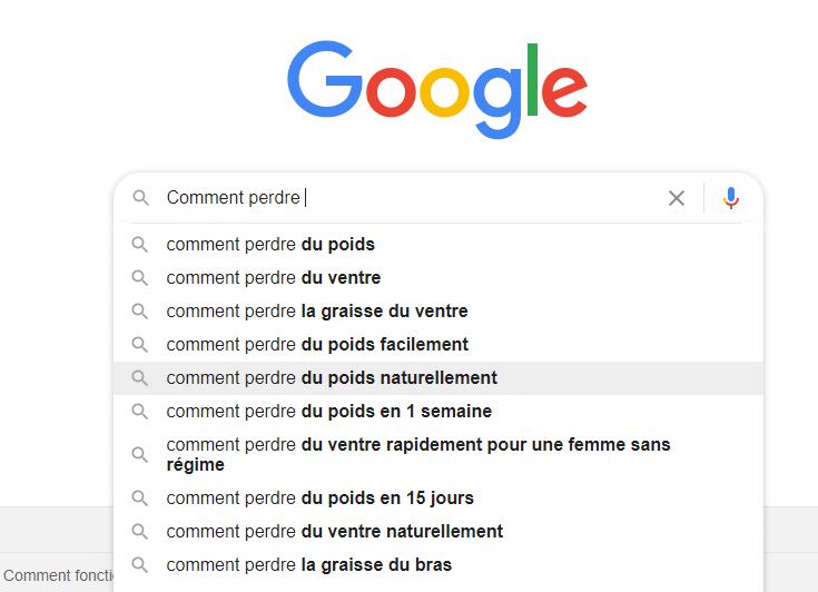 Suggestion automatique google