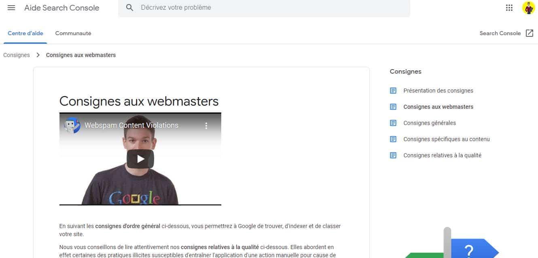 Consignes aux webmasters
