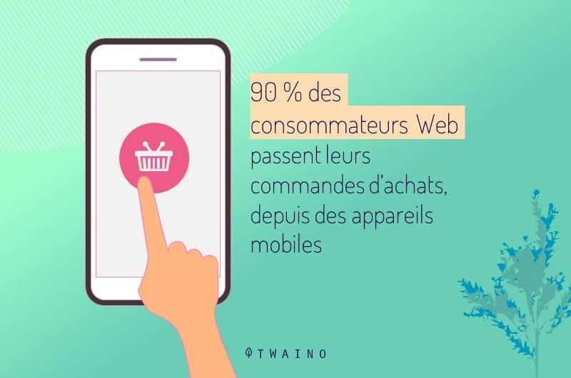 90 _ des consommateurs Web passent leurs commandes d achats, depuis des appareils mobiles