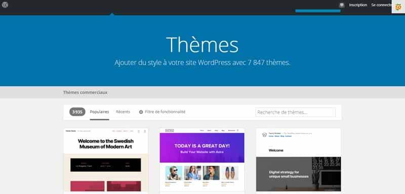 biblioteque des themes WordPress