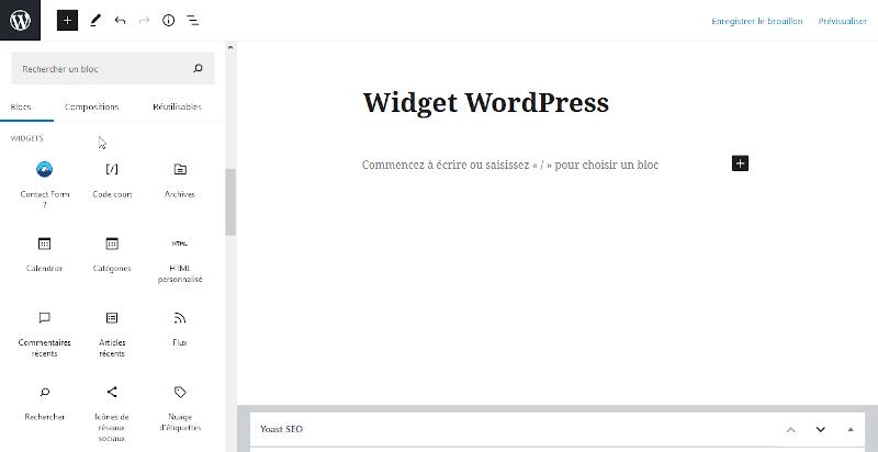 Ajouter un widget avec Gutenberg
