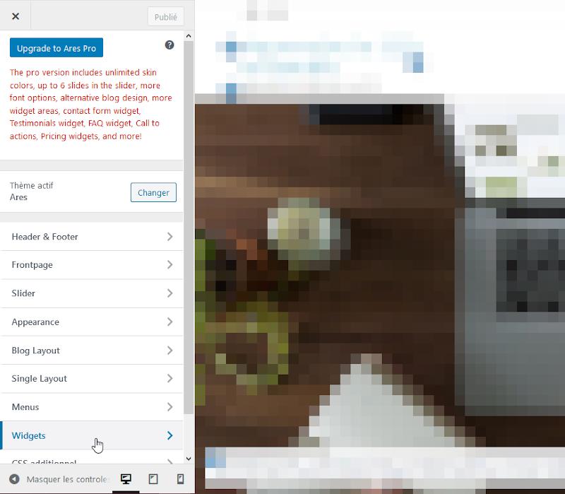 Ajouter un widget wordpress - outil de personnalisation