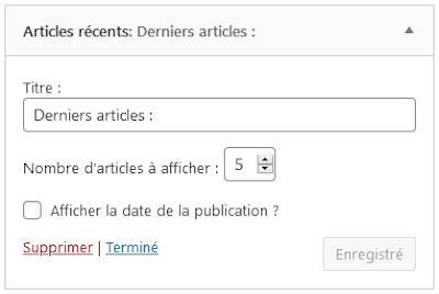 Widget Articles Récents