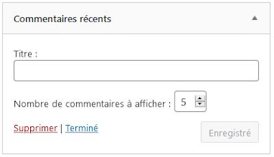 Widget Commentaires récents
