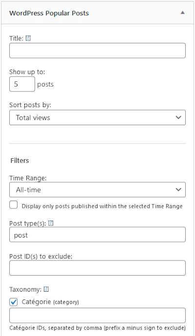 Widget WP popular posts