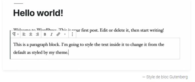 l editeur de bloc Gutenberg