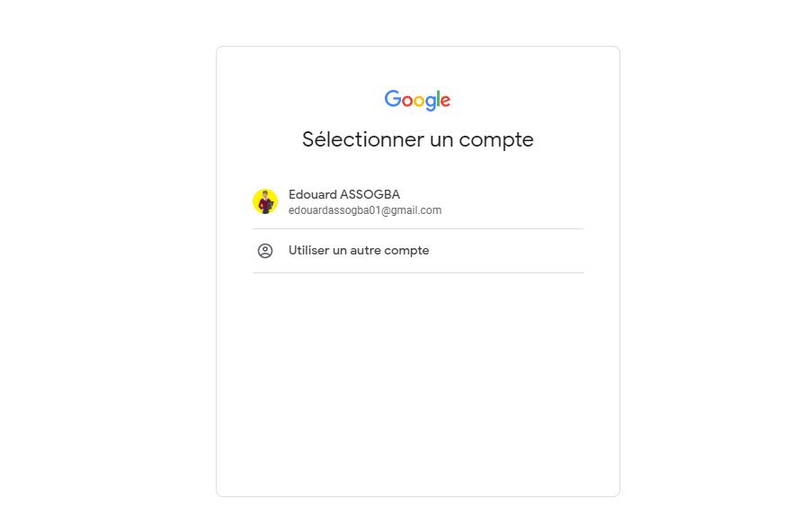 selection de compte gmail