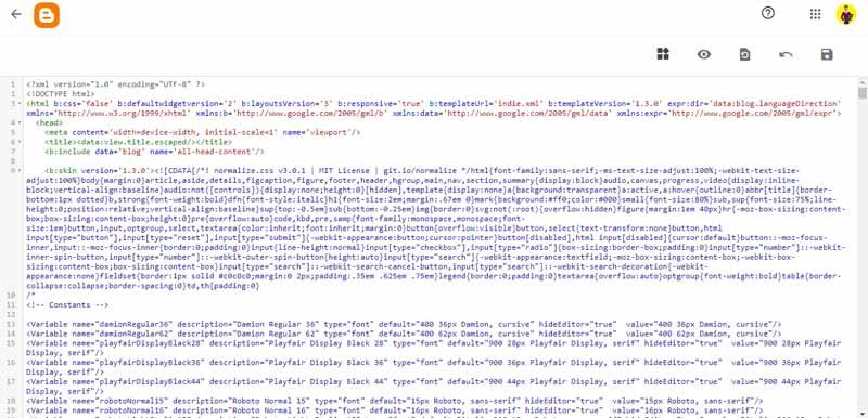 le code de votre blog