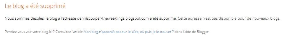 Message blogspot supprime par Google