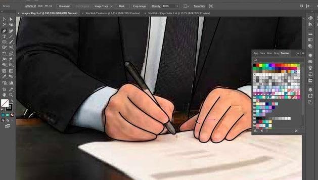 Dessin avocat signant des papiers