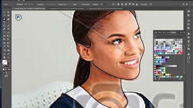 Dessin femme aux cheveux longs sur son ordinateur